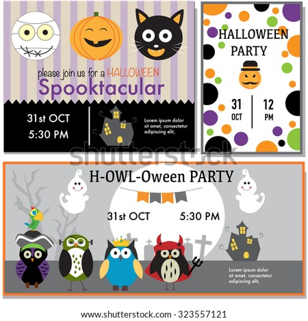 Halloween party invitation cards witch, zombie, black cat, owls character vector. illustration EPS10. - stock vector