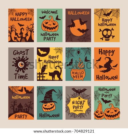 Halloween party invitation cards different scary stock vector hd halloween party invitation cards with different scary illustrations stopboris Images