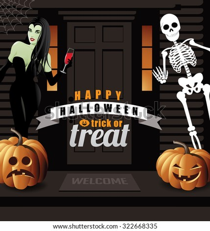 Halloween party invitation house with vampire, jack o lanterns and skeleton. EPS 10 vector illustration for advertising, marketing, poster, flyer, web page, greeting card, invitation, event,  - stock vector