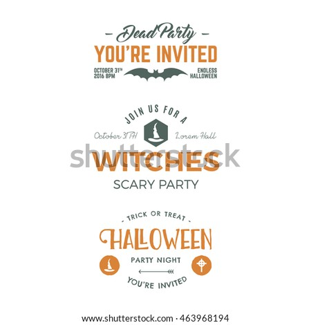 Halloween 2016 party invitation label templates stock vector halloween 2016 party invitation label templates with holiday symbols witch hat bat typography stopboris Images