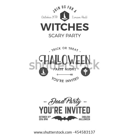 Halloween 2016 party invitation label templates stock vector halloween 2016 party invitation label templates with scary symbols witch hat bat and typography stopboris Images