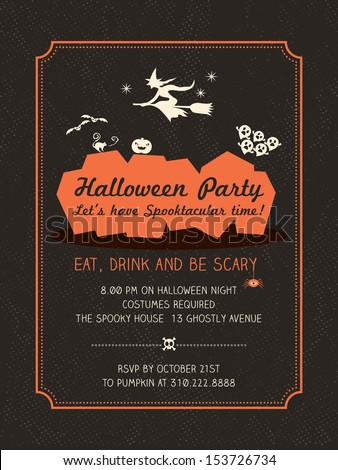 Halloween Party Invitation Template Card Poster Flyer Stock Vector - Halloween party invitation template