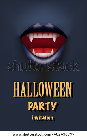 Halloween Party Invitation with vampire mouth open red lips and long teeth. Dark theme. Vector Illustration.
