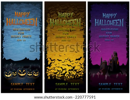 Halloween party ivitations, EPS 10 contains transparency. - stock vector