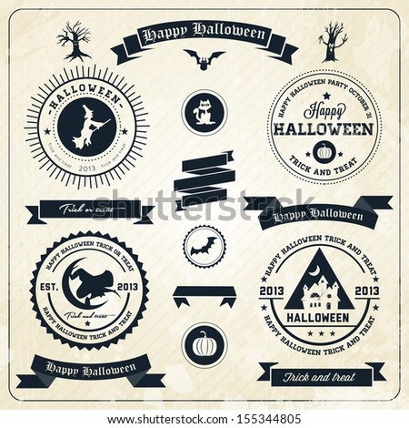 Halloween party labels and icons  - with retro vintage styled design - stock vector