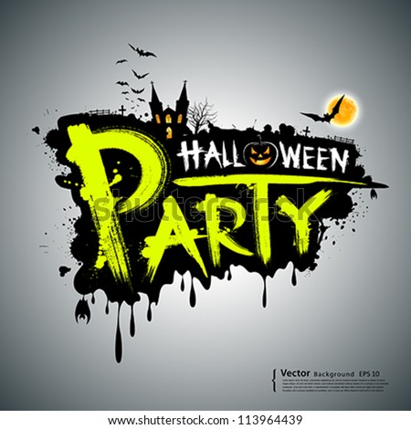 Halloween party. message design, vector illustration - stock vector