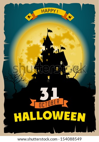 Halloween party. Old poster happy holiday background with moon. Scary mysterious castle - stock vector