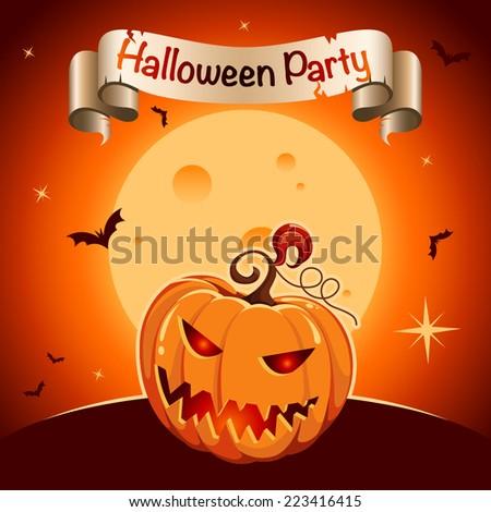 Halloween party poster - stock vector