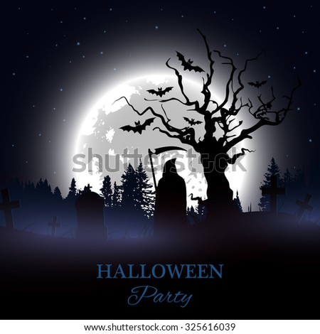 Halloween party poster. Background with spooky graveyard, naked tree, graves,bats and grim reaper silhouette. - stock vector