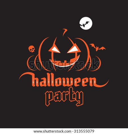 Halloween party poster. Halloween gothic font - stock vector
