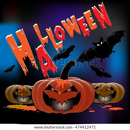 Halloween party, poster. Pumpkins and bats. Cute background for your design, vector image