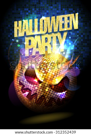 Halloween party poster with spooky disco ball. - stock vector