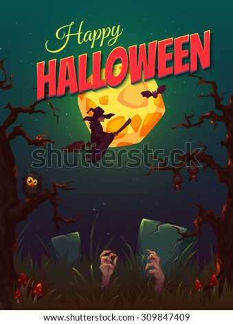 Halloween party poster with witch and moon. Vector illustration. - stock vector