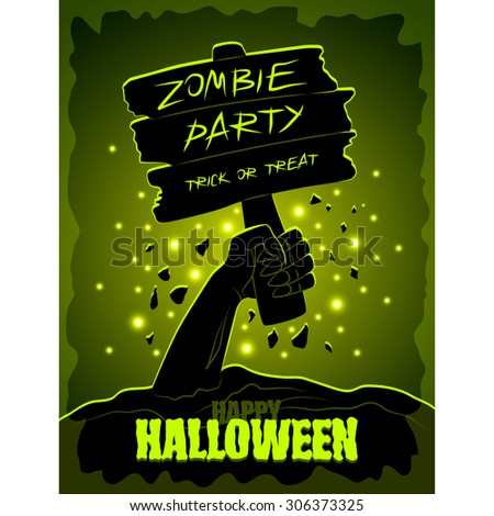 Halloween party poster with zombies hand and wooden sign detailed vector - stock vector