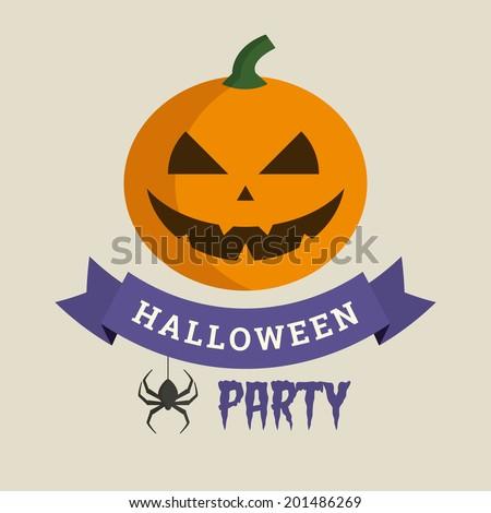 Halloween party, pumpkin illustration vector - stock vector