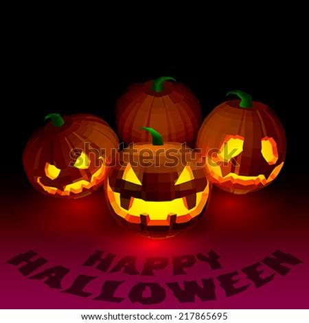 Halloween party pumpkins - stock vector