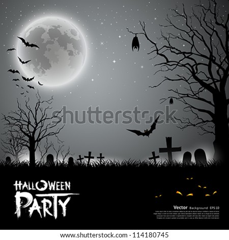Halloween party scary background, vector illustration - stock vector