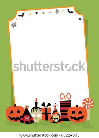 halloween party sign with decorations ready for your text - stock vector
