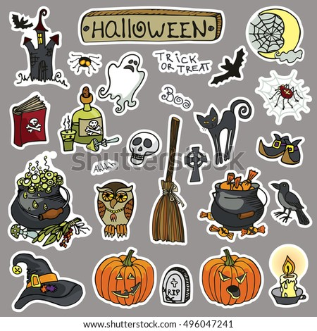 halloween party stickers iconsdoodle hand drawing witch spooky elements sethalloween items - Halloween Items