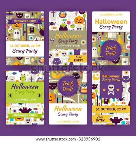 Halloween Party Template Invitation Set.  Flat Design Vector Illustration of Brand Identity for Halloween Promotion. Trick or Treat Colorful Pattern for Advertising - stock vector