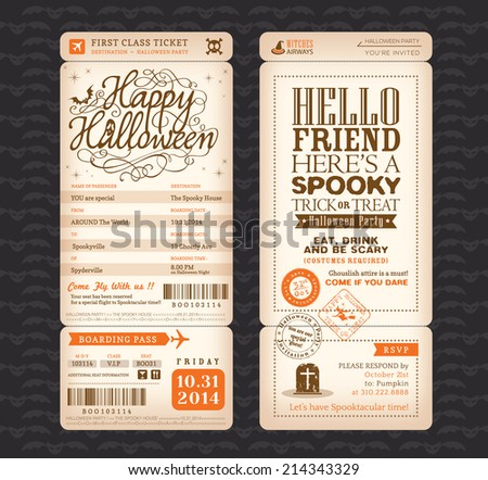 Halloween party Vintage style Boarding Pass Ticket Vector Template - stock vector