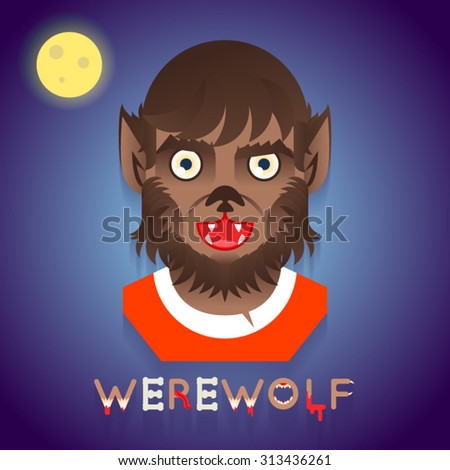 Halloween Party Werewolf Role Character Bust Icons Stylish Background Flat Design Greeting Card Vector Illustration - stock vector