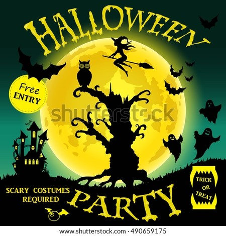 Halloween party. Witch, ghost, bat, moon, and other items on Halloween theme. Vector illustration.