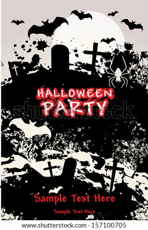 Halloween Party with Bats Spider on Grunge Cemetery
