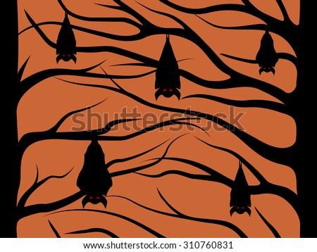 Halloween pattern, bats with red eyes hanging on trees - stock vector
