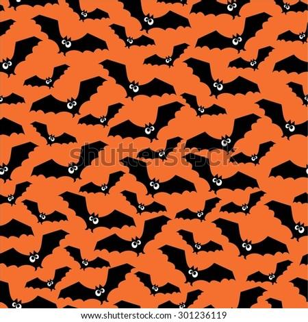 Halloween pattern with bats. Seamless halloween background. Happy Halloween concept illustration. - stock vector