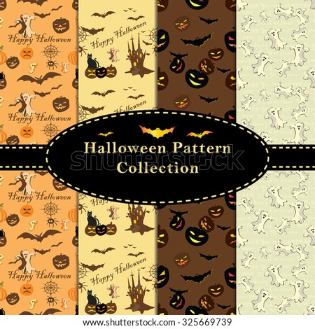 Halloween Patterns collection. Set of seamless patterns for fabric,  wrapping paper,etc. Print colors used. Patterns are to be found in swatches. - stock vector