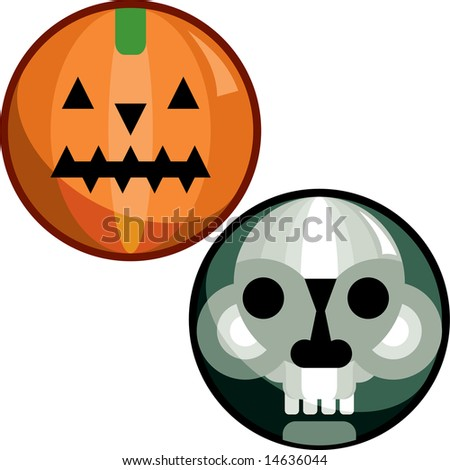 Halloween pin of a skull face and a scary pumpkin