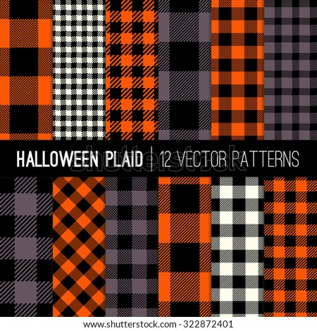 halloween plaid and buffalo check patterns orange black white and grey plaid - Black And Orange Halloween