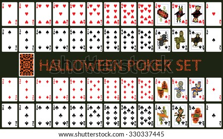 Halloween poker set with isolated cards on dark green background