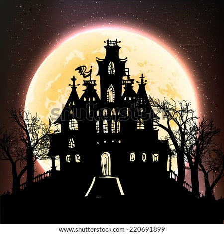 Halloween poster - a haunted castle on the moon background