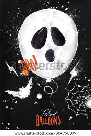 Halloween poster balloon with bat drawing on blackboard - stock vector