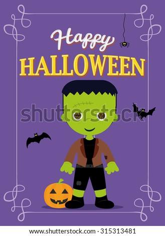 Halloween Poster Frankestein Costume, Purple Color - stock vector
