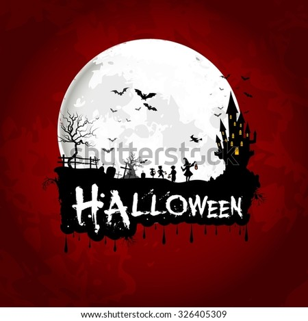 Halloween poster on full moon with scary house and little girls. Vector - stock vector