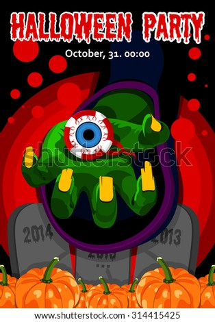 Halloween. Poster, postcard for Halloween. The holiday, witches hand, magic, harvest pumpkins, human eye. Illustration for celebration. Banner, background for Halloween Party Night. Horrible party.  - stock vector