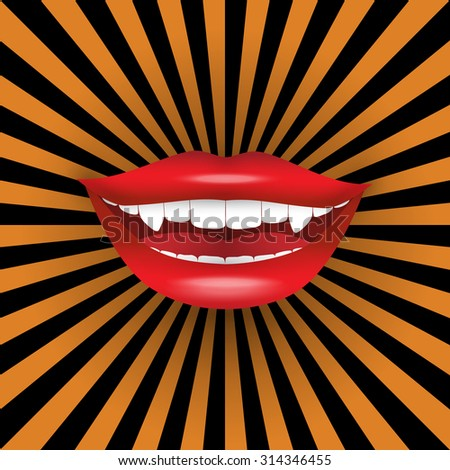 Halloween poster. Seductive vampire smile on black&orange burst background. Vector illustration suitable for party invitations, cards, holiday discounts and sale announcements.  - stock vector
