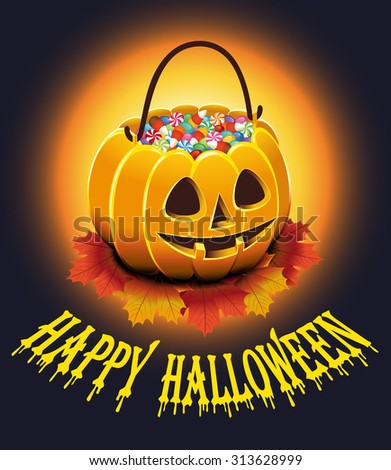 Halloween Poster with autumn leaves and pumpkin with candies. Vector illustration. - stock vector