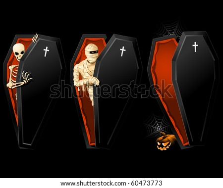 Halloween poster with Coffin and Skeleton inside - stock vector