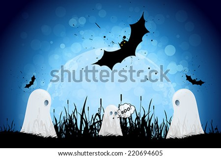 Halloween Poster with Ghosts, Bats and Moon - stock vector