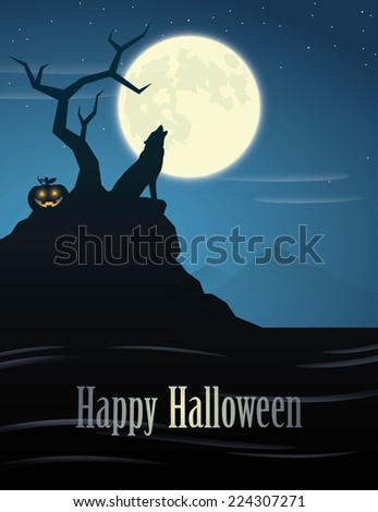 Halloween poster with howling wolf - vector illustration - stock vector