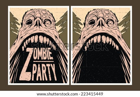 Halloween Poster. Zombie party invitation. - stock vector