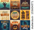 Halloween Posters set. Vector illustration. - stock vector