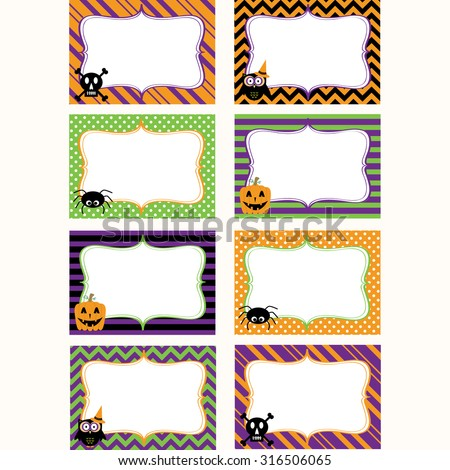 Halloween Printable labels Set.Photo Frame, Gift Tags,Invitation. - stock vector