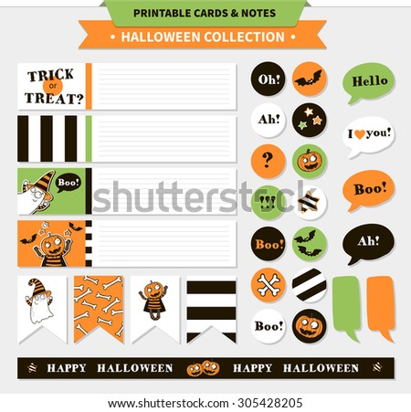 Halloween printable vector cards, banners, stickers and notes with cartoon funny pumpkin, ghosts, vampire bats, bones, stars and words (trick or treat, happy Halloween, etc.) - stock vector