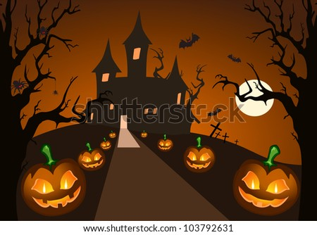 Halloween pumpkin and haunted castle - stock vector