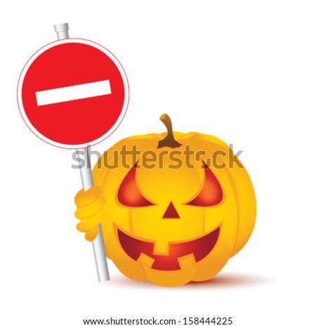 Halloween Pumpkin and road sign - stock vector